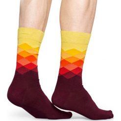 Happy Socks - Skarpety Faded Diamond. Brązowe skarpetki męskie Happy Socks, z bawełny. W wyprzedaży za 29,90 zł.