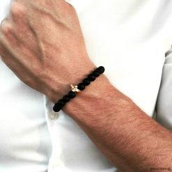 Bransoletka męska BLACK ENERGY. Czarne bransoletki męskie Pakamera, z kryształem, złote. Za 190,00 zł.