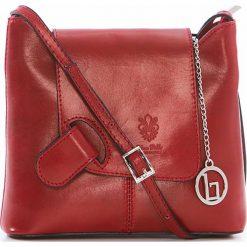 Torebki klasyczne damskie: Skórzana torebka w kolorze czerwonym – 24 x 20 x 6,5 cm