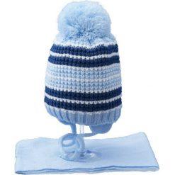 Czapka dziecięca z szalikiem CZ+S 020A niebieska r. 46-48. Niebieskie czapeczki niemowlęce Proman. Za 45,25 zł.