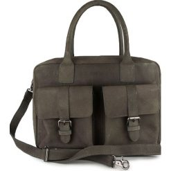 Torebki klasyczne damskie: Skórzana torebka w kolorze szarym – 37 x 26 x 13 cm