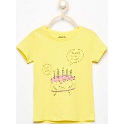 Bluzki, topy, tuniki: T-shirt z wesołym nadrukiem – Żółty