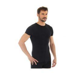 Koszulki sportowe męskie: Brubeck Koszulka męska z krótkim rękawem Comfort Wool czarna r. L (SS11030)
