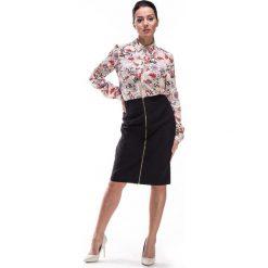 Spódniczki: Beżowa Koszula w Beżowym Odcieniu w Kwiaty
