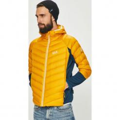 Jack Wolfskin - Kurtka puchowa. Pomarańczowe kurtki męskie pikowane marki Jack Wolfskin, l, z materiału, z kapturem. Za 769,90 zł.