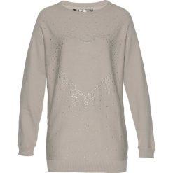 Swetry klasyczne damskie: Długi sweter z aplikacją ze sztrasów w kształcie serca bonprix kamienisty melanż