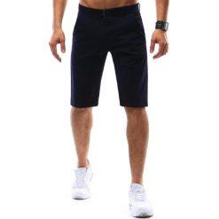 Krótkie spodenki szorty męskie granatowe (sx0466). Szare t-shirty męskie marki Dstreet, na lato, m, w kolorowe wzory, z bawełny, z klasycznym kołnierzykiem. Za 69,99 zł.