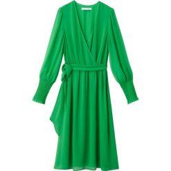 Sukienki: Gładka sukienka portfelowa, rękawy marszczone