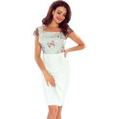 KASIA - elegancka sukienka z koronkową górą biały listek. Białe sukienki balowe Bergamo, z koronki. Za 223,99 zł.