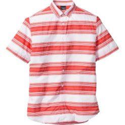 Koszule męskie na spinki: Koszula w paski Regular Fit bonprix biało-koralowy w paski