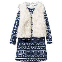 Sukienka mini z nadrukiem i kamizelką ze sztucznego futerka (2 części) bonprix ciemnoniebiesko-biel wełny. Niebieskie kamizelki dziewczęce marki bonprix, z nadrukiem, z wełny. Za 119,99 zł.