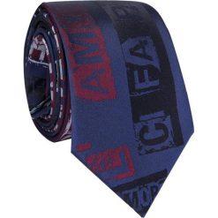 Krawat jedwabny KWGR009002. Czerwone krawaty męskie Giacomo Conti, z nadrukiem, z jedwabiu. Za 169,00 zł.
