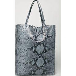 Answear - Torebka skórzana. Szare shopper bag damskie ANSWEAR, z materiału, na ramię, duże. W wyprzedaży za 199,90 zł.