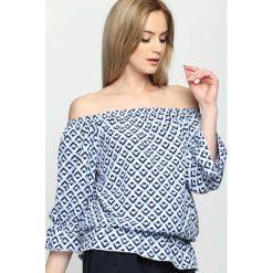 Niebieska Bluzka Paisley. Szare bluzki hiszpanki marki Born2be, s, w kwiaty, z długim rękawem. Za 44,99 zł.