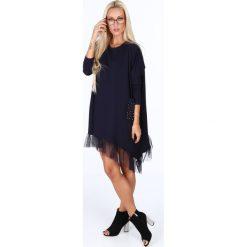 Oversizowa sukienka z falbanką granatowa 4024. Szare sukienki Fasardi, l, z falbankami. Za 79,00 zł.