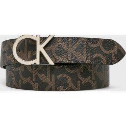 Calvin Klein - Pasek. Szare paski damskie marki Calvin Klein, w paski, ze skóry ekologicznej. Za 229,90 zł.