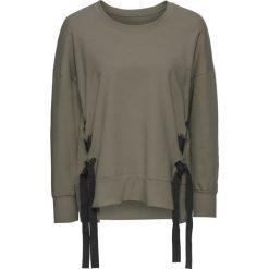 Bluzy damskie: Bluza z wiązanymi paskami bonprix oliwkowy