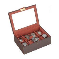 Pudełko na zegarki ze szklaną pokrywką Stackers brązowo-pomarańczowe. Brązowe zegarki damskie Stackers. Za 294,00 zł.