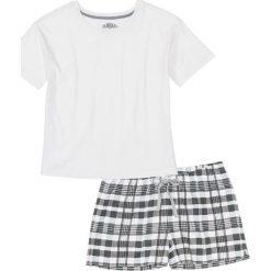 Piżamy damskie: Piżama z krótkimi spodenkami bonprix biel wełny – szary wzorzysty
