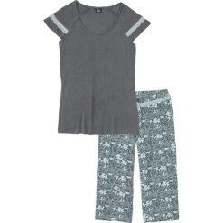 Piżama ze spodniami 3/4 bonprix pastelowy miętowy - dymny szary z nadrukiem. Zielone piżamy damskie marki bonprix, w koronkowe wzory, z koronki. Za 69,99 zł.