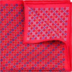 Poszetka Czerwona Wzór geometryczny. Czerwone poszetki męskie LANCERTO, w geometryczne wzory, z jedwabiu, klasyczne. Za 99,90 zł.