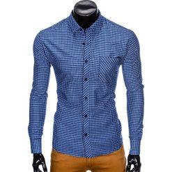 KOSZULA MĘSKA W KRATĘ Z DŁUGIM RĘKAWEM K423 - GRANATOWA/BŁĘKITNA. Brązowe koszule męskie na spinki marki Ombre Clothing, m, z aplikacjami, z kontrastowym kołnierzykiem, z długim rękawem. Za 69,00 zł.