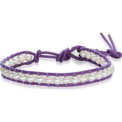 Bransoletki damskie: Skórzana bransoletka w kolorze fioletowo-białym z perłami słodkowodnymi
