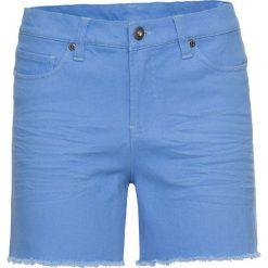 Szorty damskie: Krótkie spodenki twillowe z postrzępionymi nogawkami bonprix niebieski