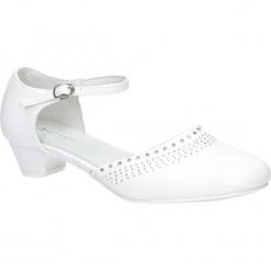 Białe buty komunijne z cyrkoniami American KOM-2/2018. Białe buciki niemowlęce American. Za 69,99 zł.