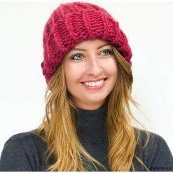 Czapki zimowe damskie: Bordowa czapka wełniana alpaka na drutach