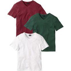 Koszulki męskie: T-shirt z dekoltem w serek (3 szt.) Regular Fit bonprix bordowy + ciemnozielony + biały