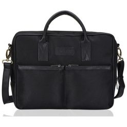 CIDRO Męska torba na ramię na laptopa czarna. Czarne torby na ramię męskie Solier, w paski, ze skóry ekologicznej. Za 135,20 zł.