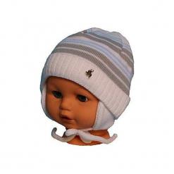 Czapka niemowlęca podszyta bawełną cz-059A. Szare czapeczki niemowlęce Proman, z bawełny. Za 29,56 zł.