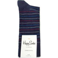 Skarpety Wysokie Męskie HAPPY SOCKS - TST01-6001 Granatowy. Czerwone skarpetki męskie marki Happy Socks, z bawełny. Za 34,90 zł.