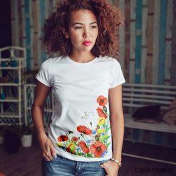 MAki dopasowana koszulka tshirt damski. Niebieskie bluzki z odkrytymi ramionami marki Pakamera, z bawełny. Za 85,00 zł.