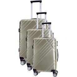 Zestaw walizek w kolorze złotym - 3 szt. Żółte walizki marki Travel One, z materiału. W wyprzedaży za 619,95 zł.