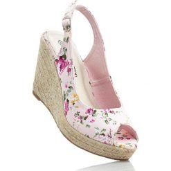 Buty ślubne damskie: Czółenka z odkrytymi palcami bonprix różowy w kwiaty