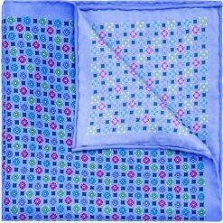Poszetka Mixkolor. Niebieskie poszetki męskie LANCERTO, w geometryczne wzory, z jedwabiu, klasyczne. Za 99,90 zł.