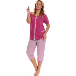 Piżama w kolorze różowo-białym - koszula, spodnie. Białe piżamy damskie Doctor Nap, xl, w paski. W wyprzedaży za 84,95 zł.