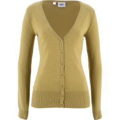 Sweter rozpinany bonprix zielony wierzbowy. Zielone kardigany damskie marki bonprix, z dzianiny. Za 37,99 zł.