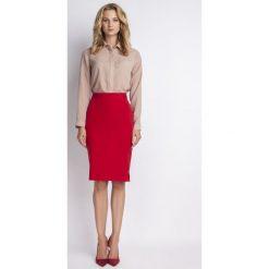 Spódniczki: Ołówkowa Czerwona Spódnica Midi z Wysokim Stanem