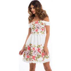 Sukienki: Kremowa sukienka w kwiaty 8243