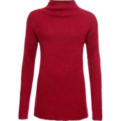 Sweter dzianinowy z lureksową nitką bonprix czerwony chili. Niebieskie swetry klasyczne damskie marki bonprix, z nadrukiem. Za 99,99 zł.