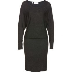 Sukienka dzianinowa bonprix antracytowy melanż. Szare sukienki dzianinowe marki bonprix, melanż, dopasowane. Za 49,99 zł.