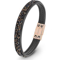 Bransoletki damskie: Skórzana bransoletka w kolorze czarnym z kryształkami Swarovski