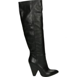 Kozaki - DBL145-O V NE. Czarne buty zimowe damskie marki Venezia, z materiału, na obcasie. Za 539,00 zł.