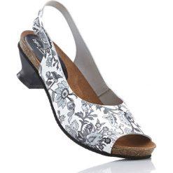 Czółenka z paskiem bonprix biały z nadrukiem. Białe buty ślubne damskie bonprix, z nadrukiem. Za 109,99 zł.