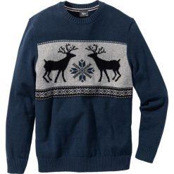 Swetry męskie: Sweter z okrągłym dekoltem Regular Fit bonprix ciemnoniebieski