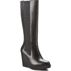 Kozaki CALVIN KLEIN JEANS - Sequin R3504 Black. Czarne buty zimowe damskie marki Calvin Klein Jeans, z jeansu, przed kolano, na wysokim obcasie, na obcasie. W wyprzedaży za 479,00 zł.