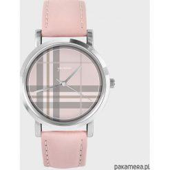 Zegarki damskie: Zegarek – Szkocka krata – pudrowy róż